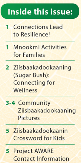 Table of Contents Text reading-- Inside this issue: 1  Connections Lead  to Resilience!;   1 Mnookmi Activities  for Families; 2 Ziisbaakadookaaning  (Sugar Bush):  Connecting for  Wellness; 3-4 Community  Ziisbaakadookaaning   Pictures; 5 Ziisbaakadookaanin  Crossword for Kids; 5 Project AWARE  Contact Information